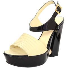 Chanel Black and Cream Platform Pearl Heeled Sandals Sz 39.5