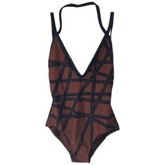 Hermes Ribbon Print Brown and Navy Swimsuit