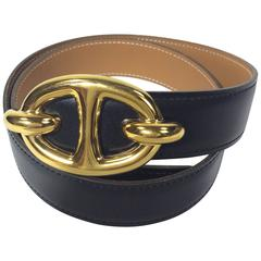 Hermes Black and Tan Reversible Belt with Gold Hardware