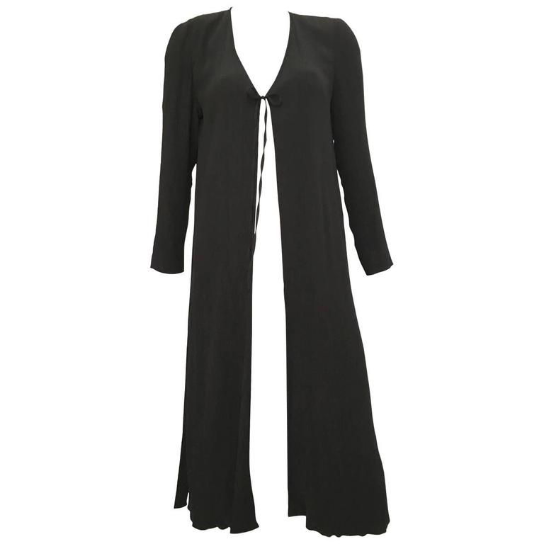 Fendi Evening Black Textured Silk Duster Jacket Size 6.