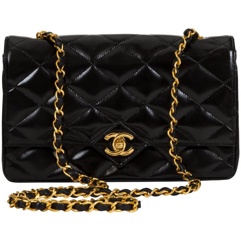 1990s Chanel Black Patent Classic Single Flap Bag 1