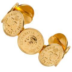 1980s Chanel Gold Coin Logo Cuff Bracelet