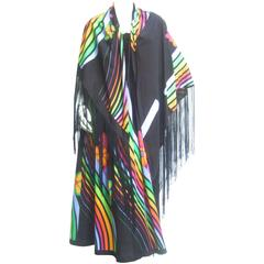 Super Cool 70's Bodice Dress with Fringed Cape.