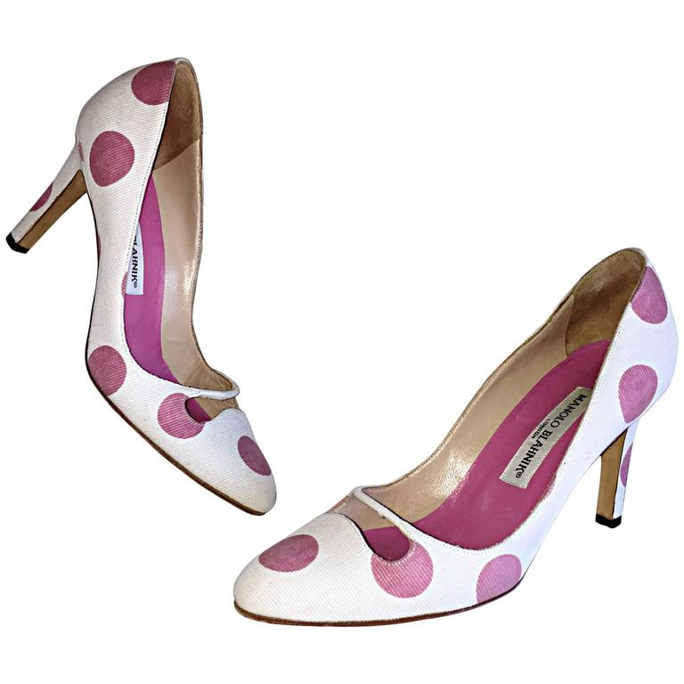 Manolo Blahnik Pink and White Polka Dot Sz 38.5 US 8.5 Cut ...