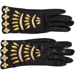 Lacroix Collectible Beaded Black Leather Gloves