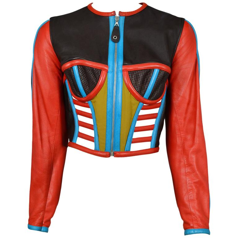 Gaultier Iconic Red & Blue Corset Leather Jacket 1991 1