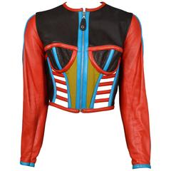 Gaultier Iconic Red & Blue Corset Leather Jacket 1991