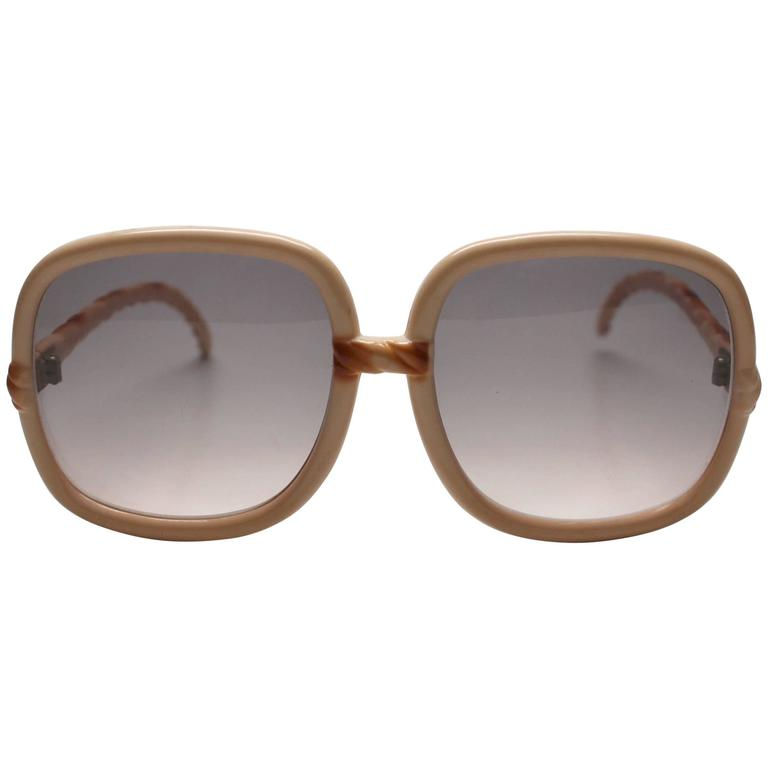 1970s Deadstock Tan Braided Sunglasses Made In France