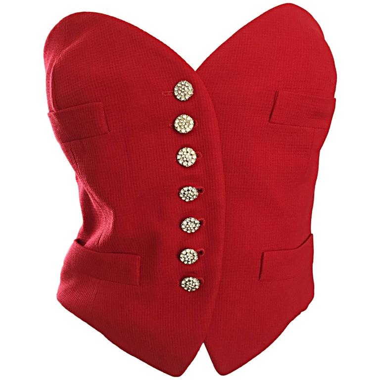 Rare Vintage Moschino Couture Red ' Heart ' Bustier Top w/ Rhinestone Buttons