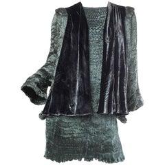 1990S PATRICIA LESTER Dark Green Haute Couture Silk Charmeuse Micro Pleated Bea