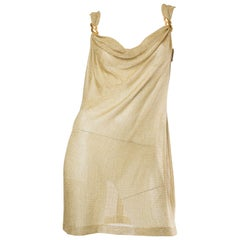 1980S Metallic Gold Lamé Rayon & Lurex Knit Sheer Cowl Neck Mini Cocktail Dress