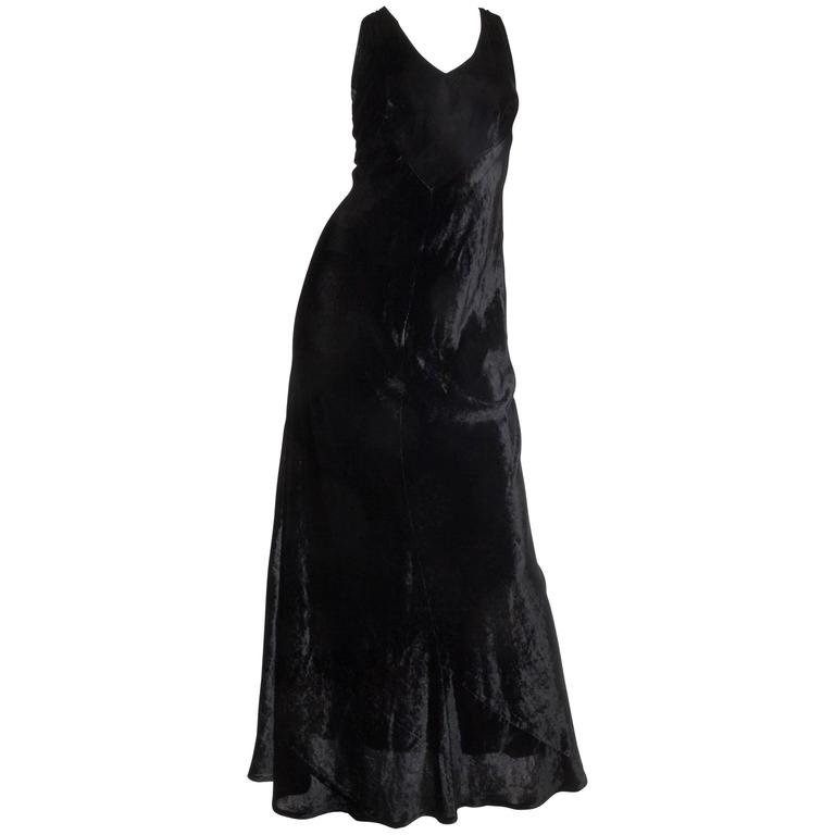1990s Donna Karan Bias Cut Silk Velvet Gown