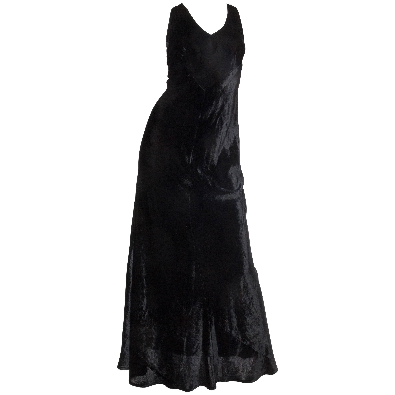 1990S DONNA KARAN Black Bias Cut Rayon & Silk Velvet 1930S Backless Style Gown