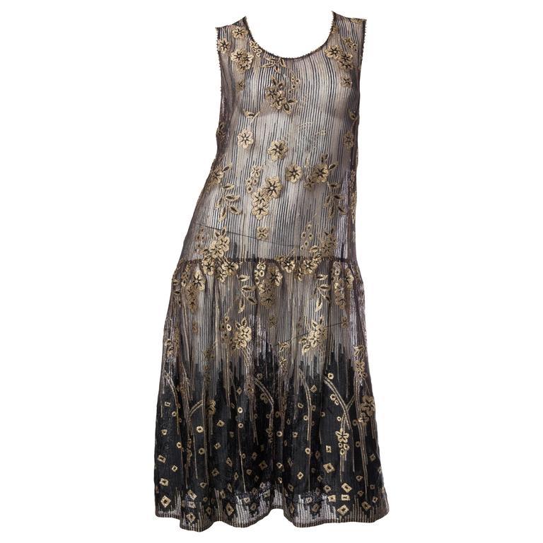 1920s Art Deco Lamé Lace Dress & Jacket