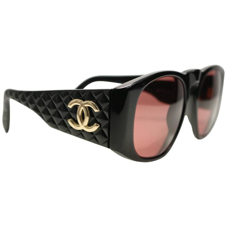 "Chanel Black Quilted Rectangular Gold ""CC"" Logo Sunglasses  For Sale"
