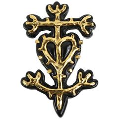 Christian Lacroix Black & Gold Brooch