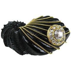Gianfranco FERRE Black Shell Crystal Brooch New, Never worn 1980s