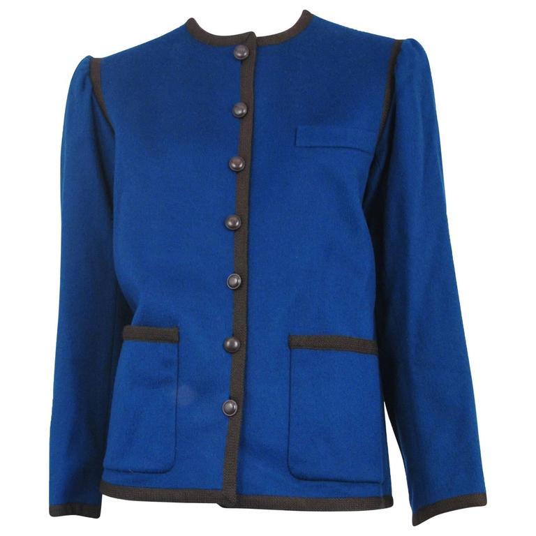 Yves Saint Laurent Blue Wool Jacket 1970s For Sale