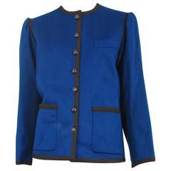 Yves Saint Laurent Blue Wool Jacket 1970s
