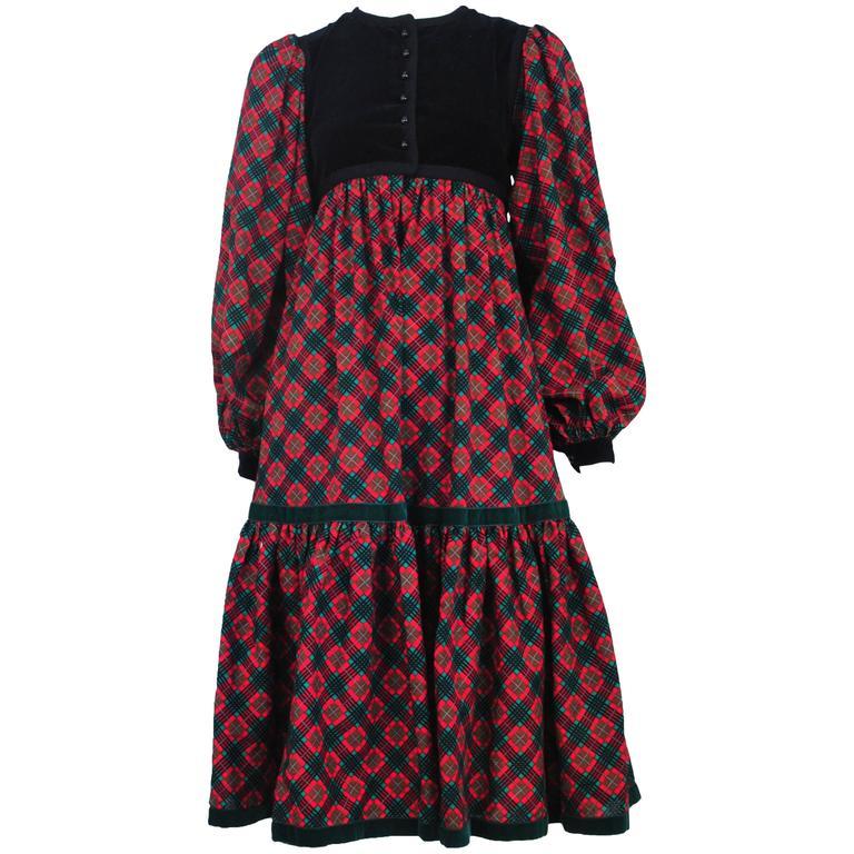 Yves Saint Laurent Pink Plaid & Black Velvet Dress 1