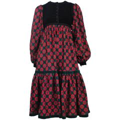 Yves Saint Laurent Pink Plaid & Black Velvet Dress