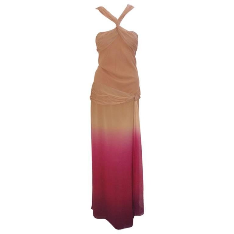 Christian Dior Nude, Pink, & Purple Ombre Chiffon Halter Evening Gown, 1990's