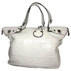 Gucci Ivory Alligator Icon Bit Shoulder Tote Bag