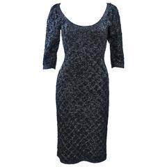 SYDNEY'S BEVERLY HILLS Black & Gunmetal Metallic Stretch Knit Cocktail Dress 4 6