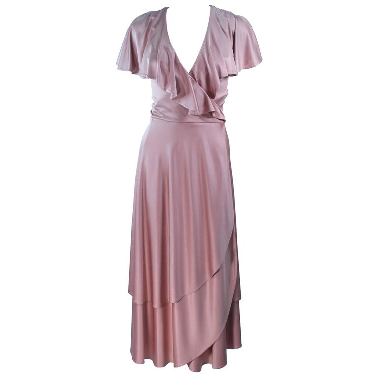 ELIZABETH MASON COUTURE Blush Silk Jersey Ruffled Cocktail Dress Made to Order 1