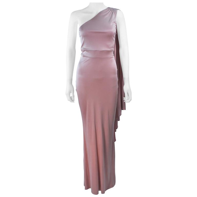 ELIZABETH MASON COUTURE Silk Jersey One Shoulder Gown Blush Made To Order