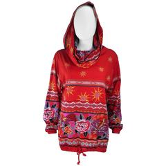 KANSAI Japan Printed Cotton Drawstring Top with Oversize Collar Hood Size 6 8