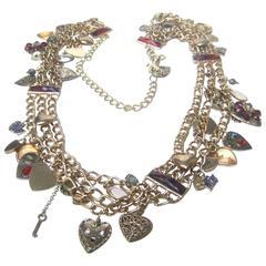 Ornate Gilt Metal Heart Theme Charm Belt c 1980s