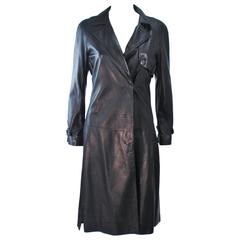 ALEXANDER MCQUEEN Supple Black Leather Trench Coat Size 38