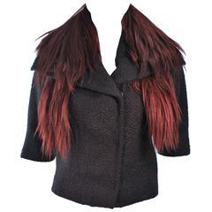 ETRO Goat Fur Collar Brown Wool Jacket Size M