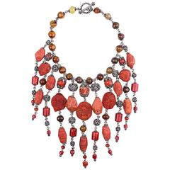 Stephen Dweck Sterling Silver and Coral Collar
