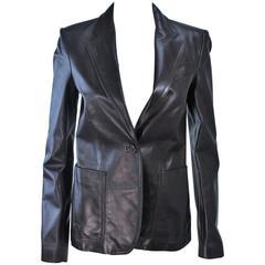GUCCI Brown Leather Jacket Blazer Size M