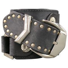 Vintage VERSUS by GIANNI VERSACE Size 34 Black Silver Studded Lion Head Belt