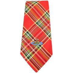 Men's VIVIENNE WESTWOOD MAN Red Plaid Cotton Saturn Oversized Tie