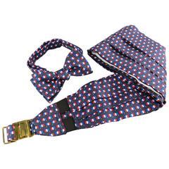 Men's Vintage HERMES Silk Navy French Flag Print Bow Tie Cummerbund Set