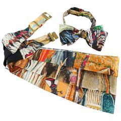 Men's Vintage HERMES Beige Rustic Wilderness Print Silk Bow Tie Cummerbund Set
