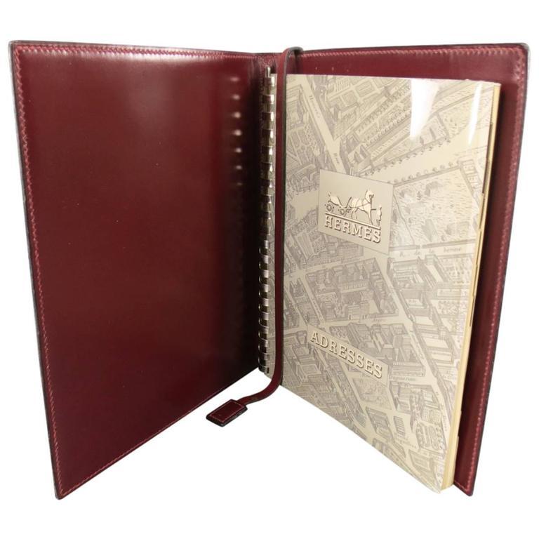 hermes vintage burgundy leather address book for sale at 1stdibs