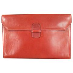 Vintage BOTTEGA VENETA Rust Red Textured Leather Clutch Portfolio