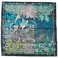 HERMES Black Blue & Green Silk 'Mythes et Metamorphoses' Scarf