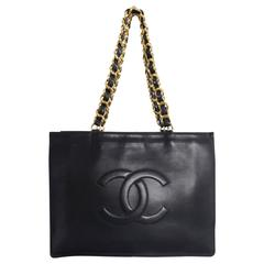 Chanel Vintage 1994 Large CC Shopper Tote with Heavy Chain Handles
