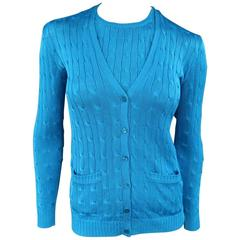 RALPH LAUREN BLACK LABEL Turquoise Blue Silk Cable Knit Tank Cardigan Twin Set