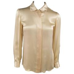 GIANNI VERSACE Size 4 Peach Nude Silk Satin Hidden Placket Medusa Button Blouse