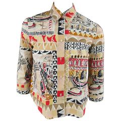 PRADA Size 4 Beige & Red Venice Italy Print Cotton Cropped 3/4 Blouse
