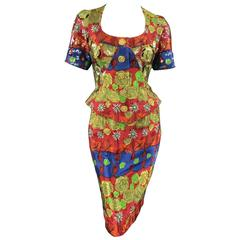 CHRISTIAN LACROIX Red Gold Navy & Green Rose Floral Print Sequin Skirt Suit