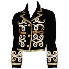 Versace Black & Gold Wool Jacket