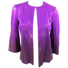 ST. JOHN Size 4 Orchid Purple Sequin Sparkle Ombre Gradient Jacket